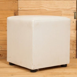 FURNITURE - OTTOMAN WHITE 40CM