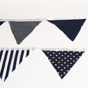 BUNTING - NAVY AND WHITE  STRIPE AND POLKA