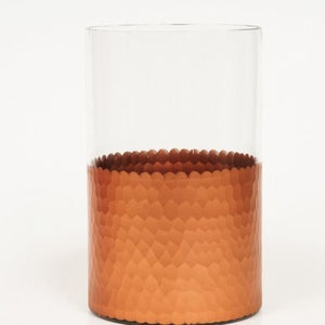LANTERN - COPPER AND GLASS CYLINDER, MEDIUM 20CM X 13CM