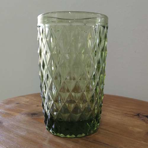 GLASSWARE - TEXTURED - TUMBLER - GREEN