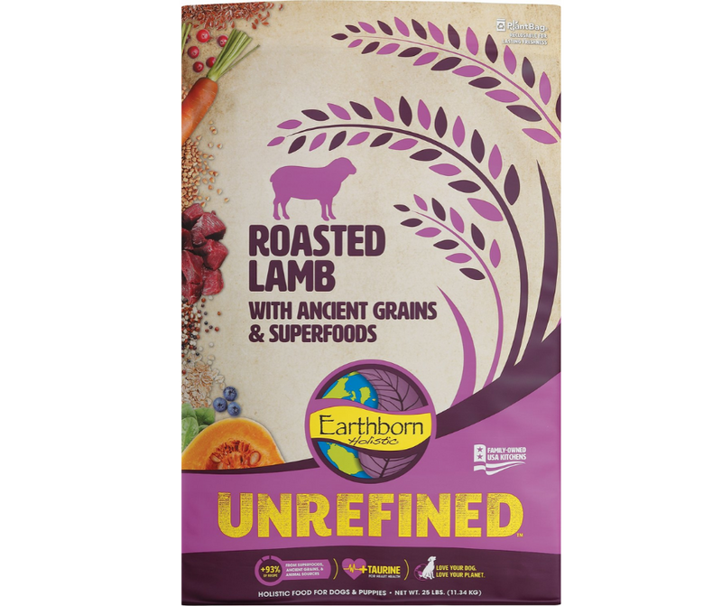 Earthborn Holistic Unrefined - All Dog Breeds, All Life Stages. Roasted Lamb with Ancient Grains & Superfoods Recipe - Southern Agriculture