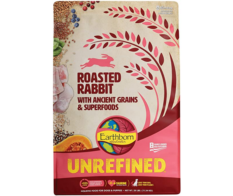 Earthborn Holistic Unrefined - All Dog Breeds, All Life Stages. Roasted Rabbit with Ancient Grains & Superfoods Recipe - Southern Agriculture