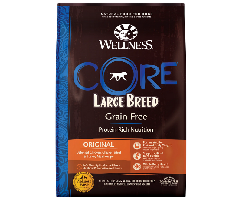 Wellness CORE - Large Breed, Adult Dog. Grain-Free, Deboned Chicken, Chicken Meal, and Turkey Meal Recipe - Southern Agriculture