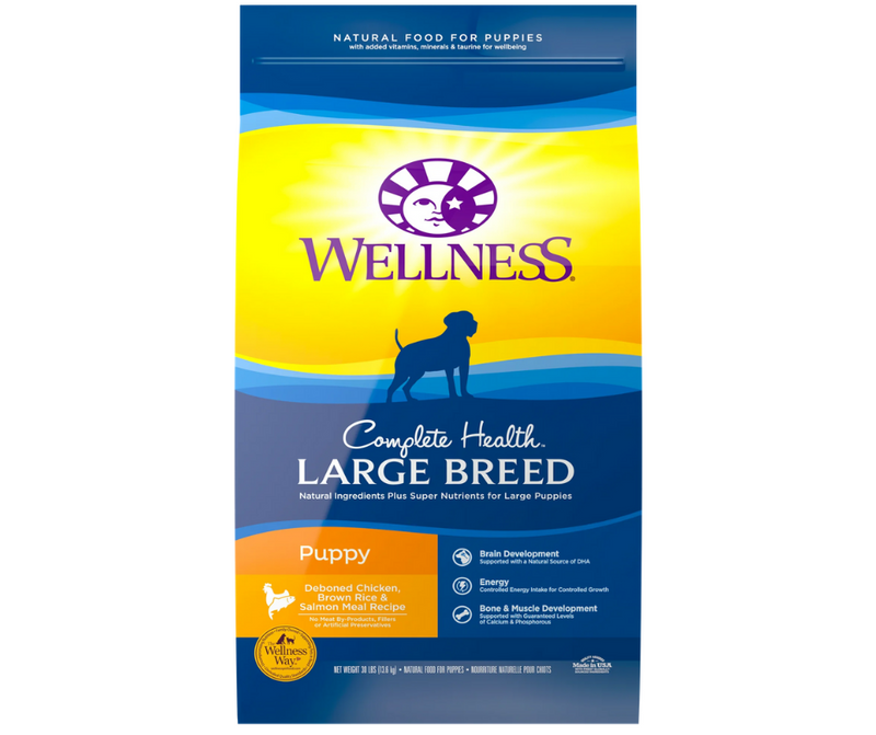 Wellness Complete Health - Large Breed, Puppy. Deboned Chicken, Brown Rice & Salmon Meal Recipe - Southern Agriculture