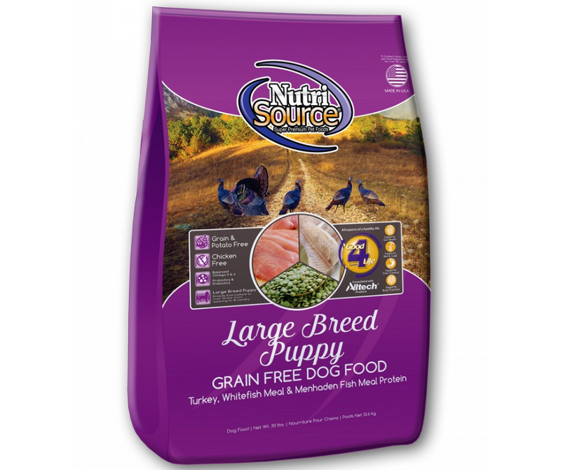 NutriSource - Large Breed, Puppy. Grain Free Turkey, Whitefish Meal, Menhaden Fish Meal Protein Recipe - Southern Agriculture