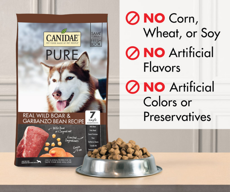 Canidae Grain Free PURE - All Breeds, Adult Dog. Real Wild Boar and Garbanzo Bean Limited Ingredient Recipe - Southern Agriculture
