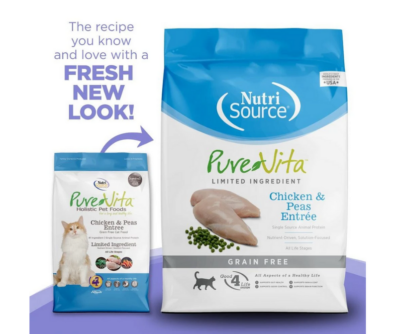 NutriSource Pure Vita - All Cat Breeds, All Life Stages. Grain Free Chicken & Peas Entrée Recipe - Southern Agriculture