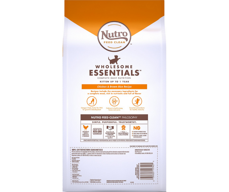 Nutro Wholesome Essentials - All Breeds, Kitten. Chicken and Brown Rice Recipe - Southern Agriculture