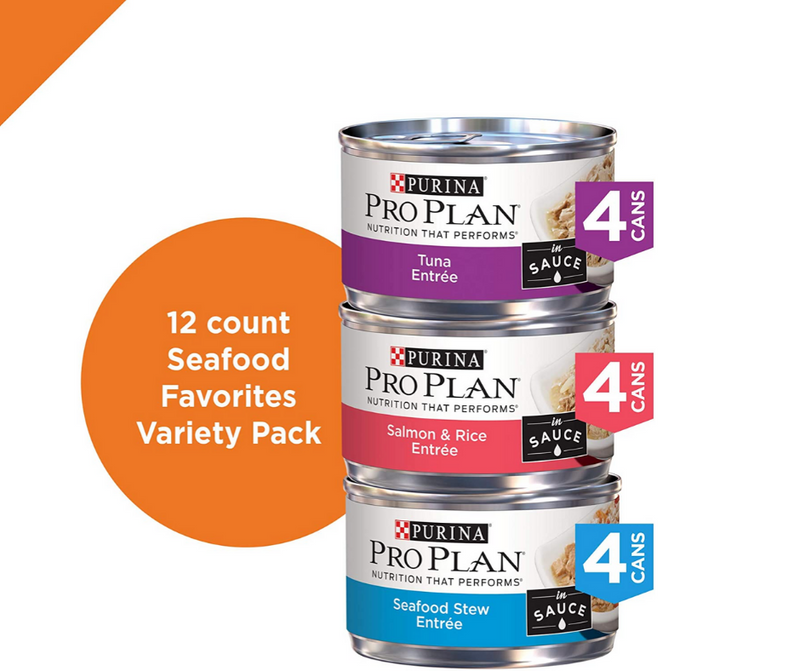 Purina Pro Plan - All Breeds, Adult Cat. Seafood Favorites, Variety Pack. 12 Can Case - Southern Agriculture