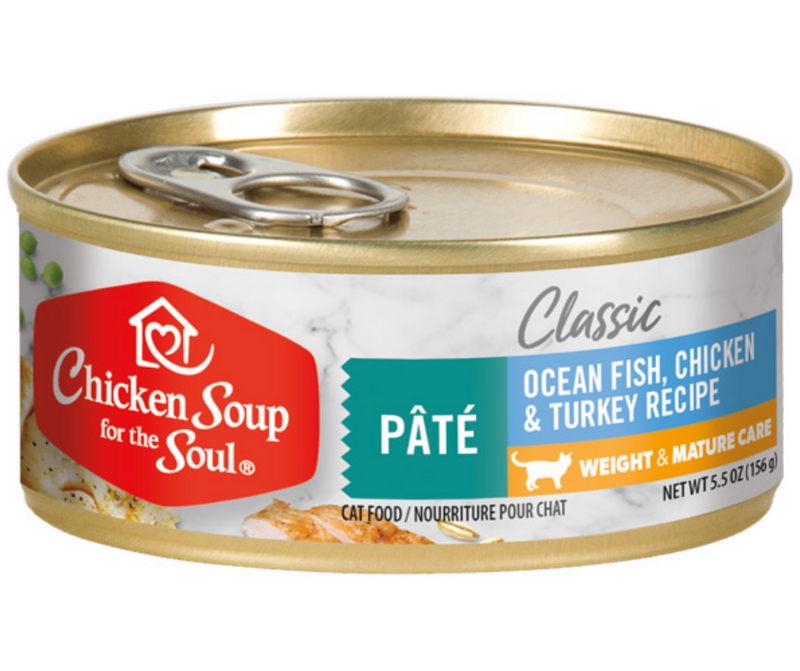 Chicken Soup for the Soul, Classic - All Breeds, Senior Cat. Weight & Mature Care - Ocean Fish, Chicken & Turkey Pâté Recipe. - Southern Agriculture