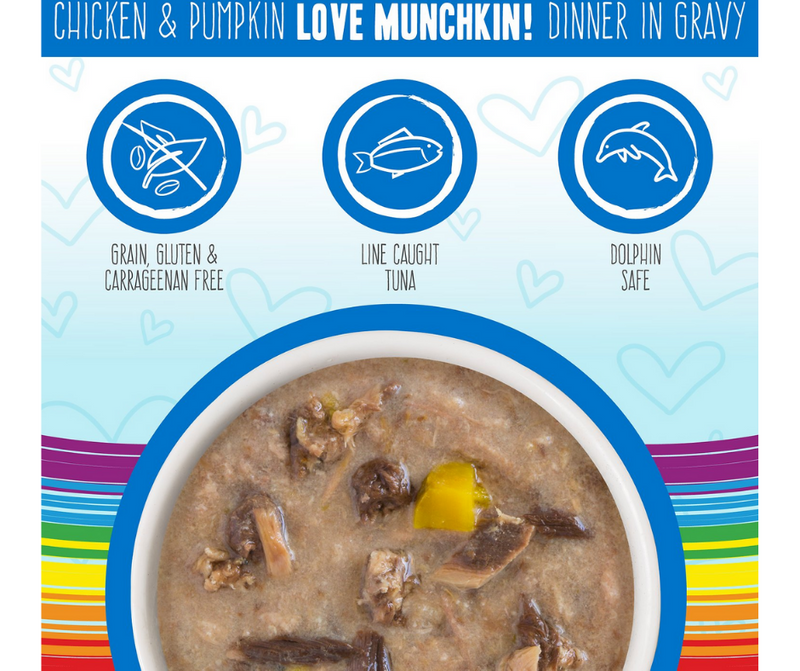 Weruva BFF, OMG Love Munchkin! - All Breeds, Adult Cat. Grain-Free Chicken & Pumpkin Dinner in Gravy. - Southern Agriculture