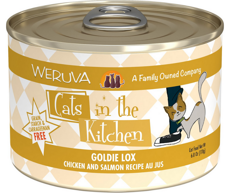 Weruva, Cats in the Kitchen - All Breeds, Adult Cat. Goldie Lox, Grain-Free Chicken & Salmon Recipe Au Jus. - Southern Agriculture