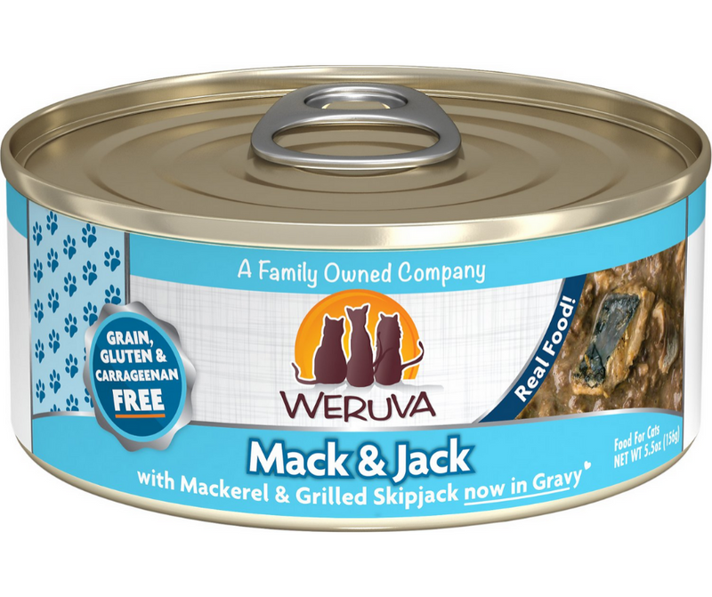 Weruva - All Breeds, Adult Cat. Mack and Jack, Grain Free Mackerel & Grilled Skipjack Recipe. - Southern Agriculture