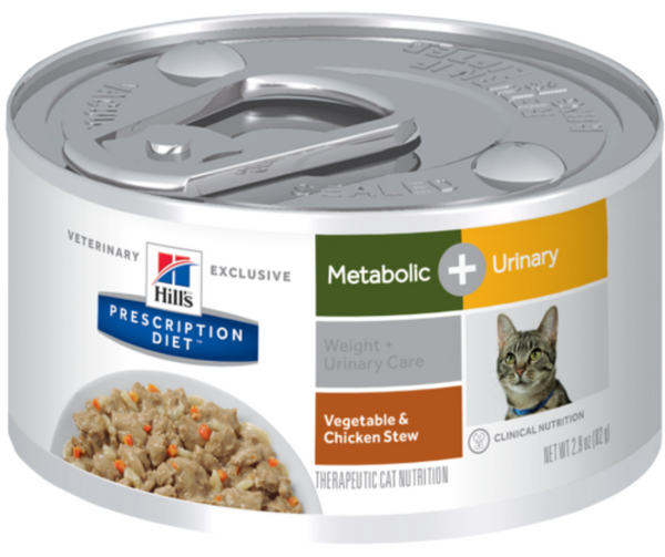 Hill's Prescription Diet - Metabolic + Urinary. Weight & Urinary Care Feline - Vegetable & Chicken Stew. - Southern Agriculture