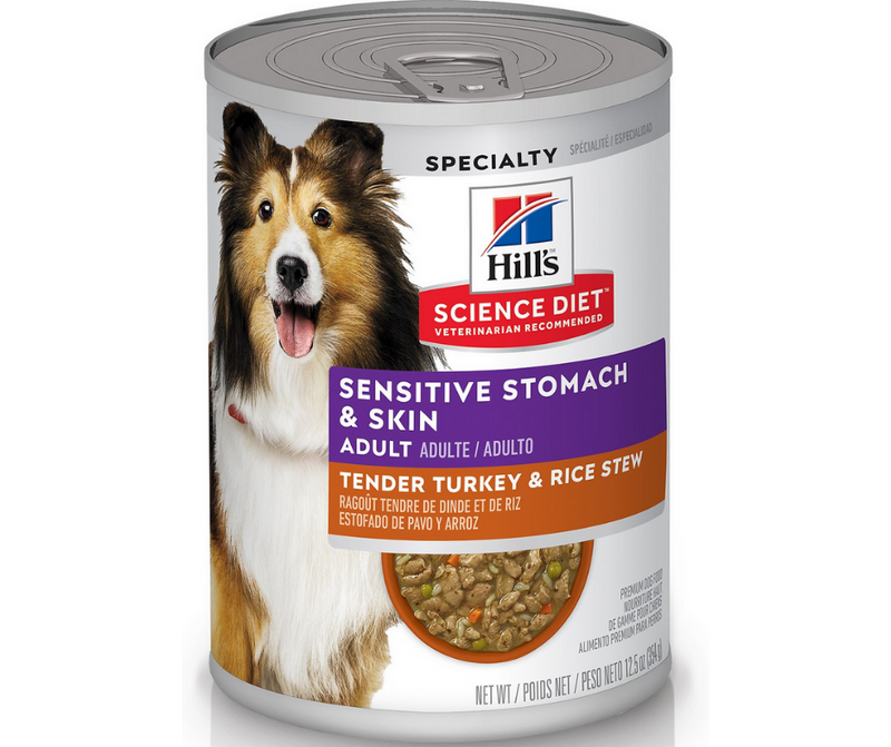 Hill's Science Diet - All Breeds, Adult Dog. Sensitive Stomach & Skin - Tender Turkey & Rice Stew Entree. - Southern Agriculture