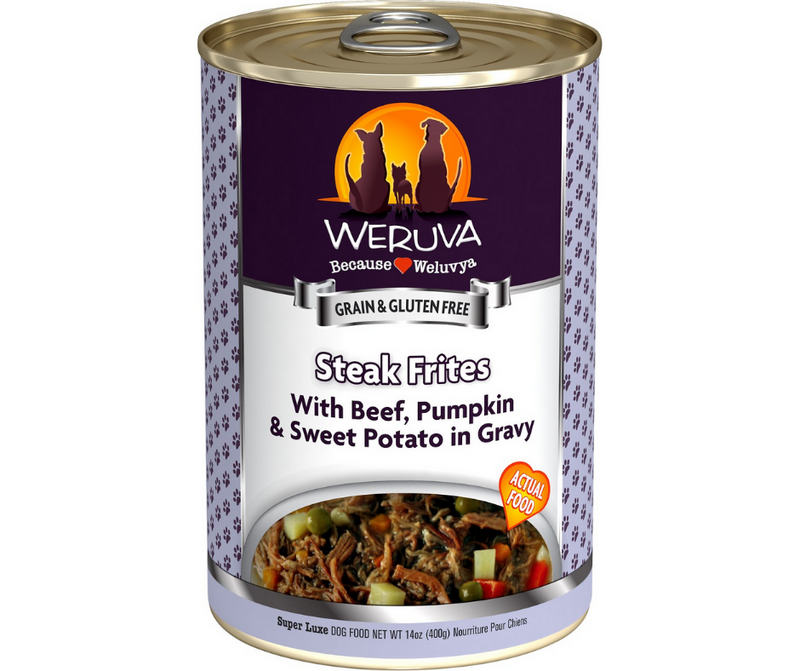 Weruva - All Breeds, Adult Dog. Steak Frites - Grain Free Beef, Pumpkin & Sweet Potatoes in Gravy. - Southern Agriculture