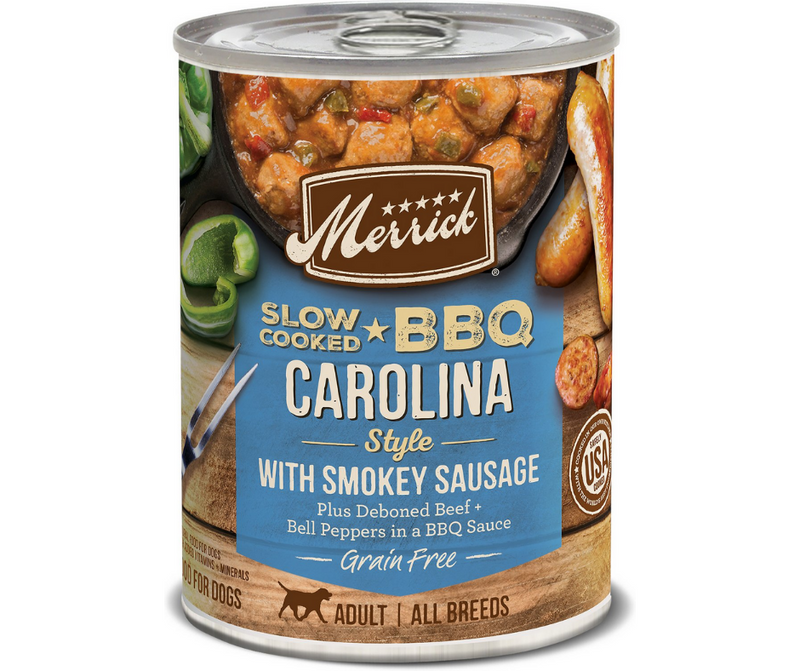 Merrick, Slow-Cooked BBQ - All Breeds, Adult Dog. Grain Free Carolina Style with Smokey Sausage. - Southern Agriculture