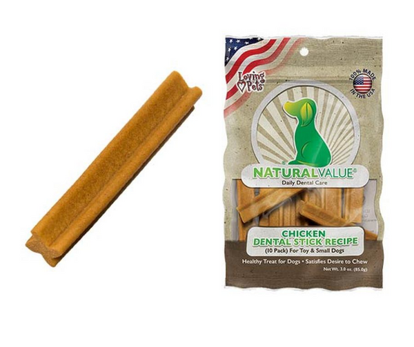 Loving Pets - Natural Value Chicken Dental Sticks for Toy & Small Breed Dogs.