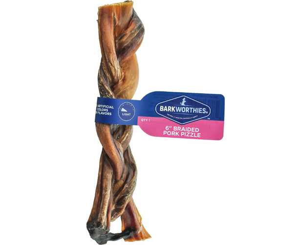 "Barkworthies - 6"" Braided Pork Pizzle, Dog Treat."