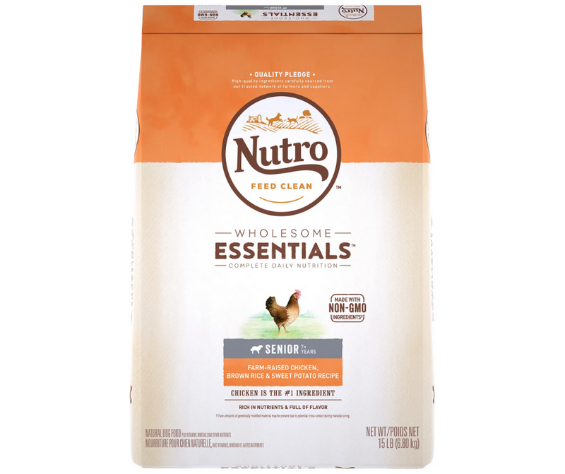 Nutro Wholesome Essentials - All Breeds, Senior Dog. Farm-Raised Chicken, Brown Rice, and Sweet Potato Recipe - Southern Agriculture