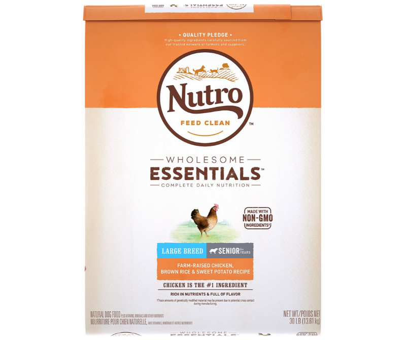 Nutro Wholesome Essentials - Large Breed, Senior Dog. Farm-Raised Chicken, Brown Rice, and Sweet Potato Recipe - Southern Agriculture