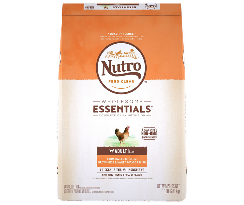 Nutro Wholesome Essentials - All Breeds, Adult Dog. Farm-Raised Chicken, Brown Rice and Sweet Potato Recipe - Southern Agriculture