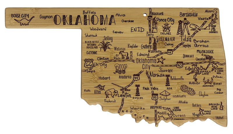 Oklahoma Cutting Board (with destinations) - Southern Agriculture
