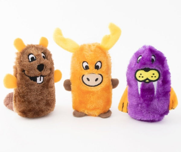 ZippyPaws, Squeakie Buddies - Pack of 3 (Beaver, Moose, Walrus).