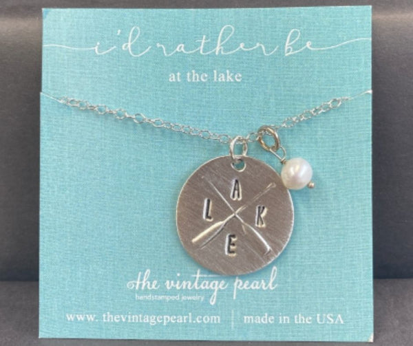 I'd Rather Be at the Lake Necklace by Vintage Pearl
