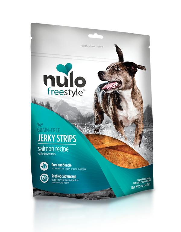 Nulo Jerky Strips Salmon with Strawberries Grain Free Dog Treat 5 oz. - Southern Agriculture