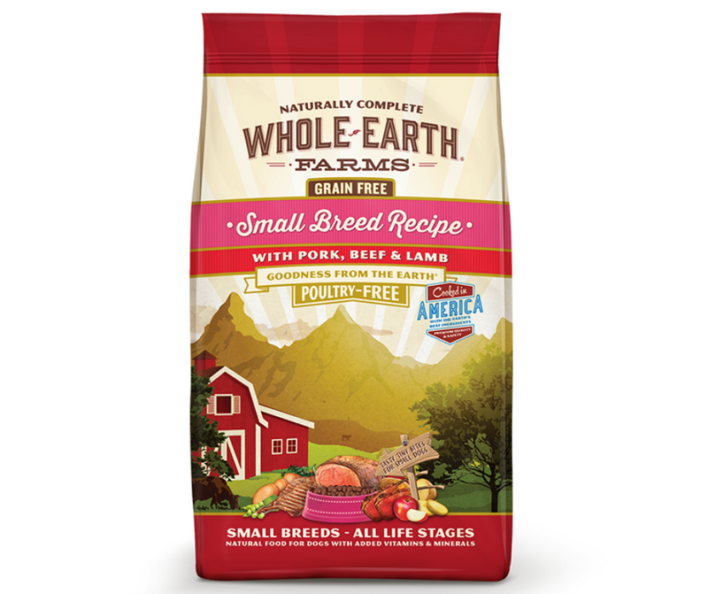 Whole Earth Farms Grain Free - Small Breed, Adult Dog. Pork, Beef, and Lamb Recipe - Southern Agriculture