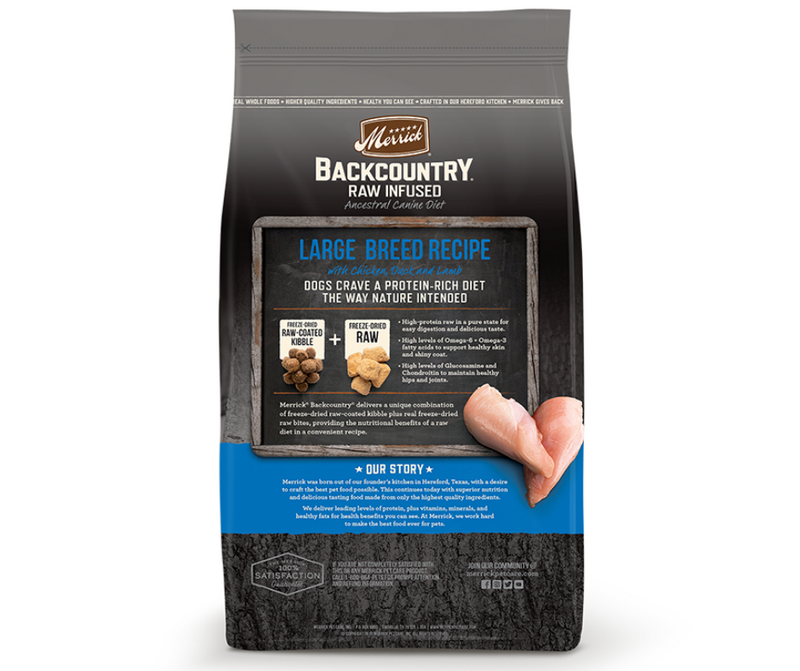 Merrick Backcountry, Raw Infused - Adult Dog. Large Breed Recipe - Southern Agriculture