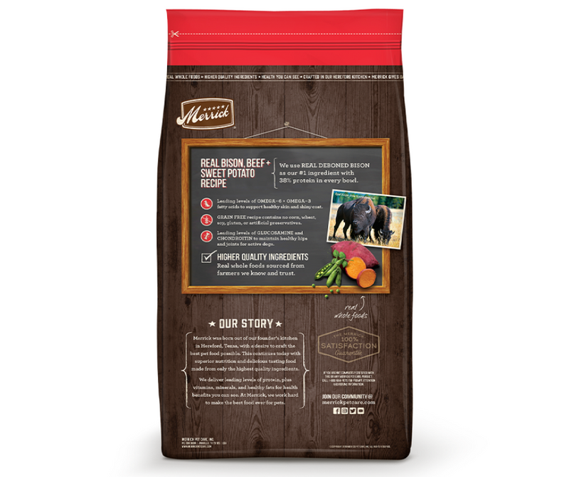 Merrick Grain Free - All Breeds, Adult Dog. Real Bison, Beef, and Sweet Potato Recipe - Southern Agriculture