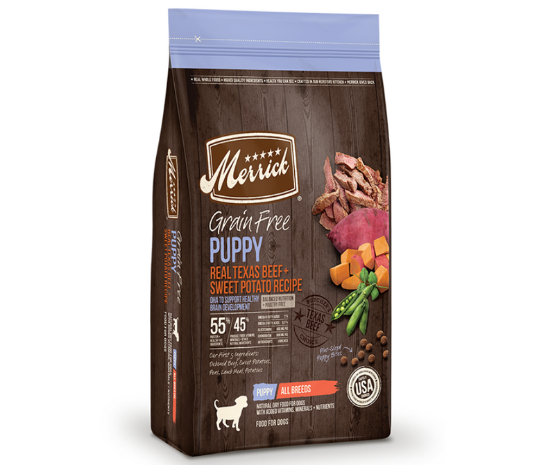 Merrick Grain Free - All Breeds, Puppy. Real Texas Beef and Sweet Potato Recipe - Southern Agriculture