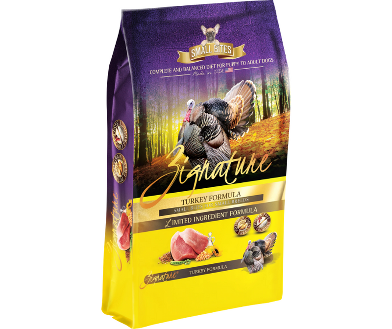 Zignature Turkey Small Bites Formula Dry Dog Food 4 lb. - Southern Agriculture