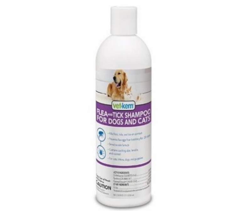 Vet-Kem Flea & Tick Shampoo for Dog and Cats 12 oz. - Southern Agriculture