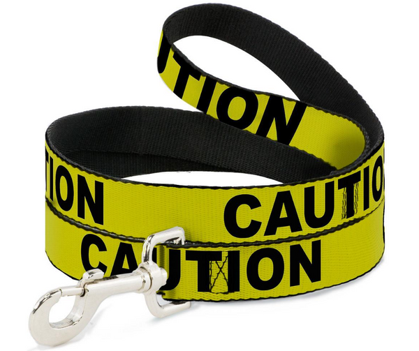 Dog Leash CAUTION Yellow & Black 1 Inch by 6 Foot - Southern Agriculture