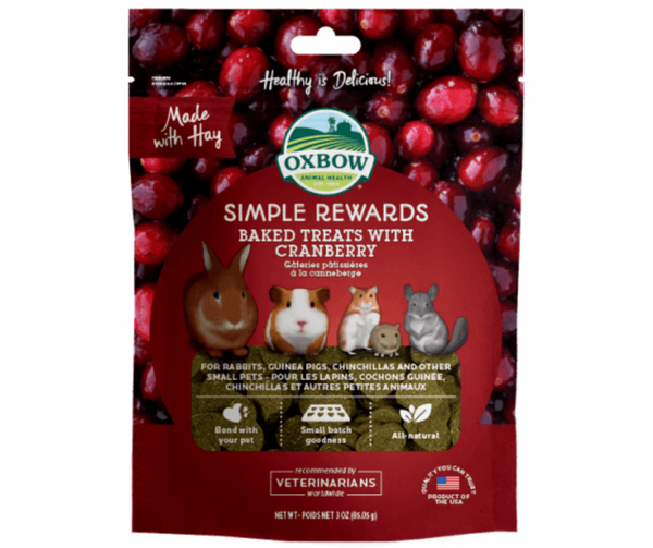 Oxbow Simple Rewards Baked Treats with Cranberry For Small Animals  3 oz. - Southern Agriculture