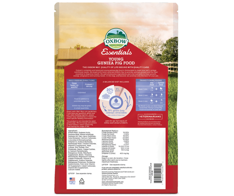 Oxbow Essentials Young Guinea Pig Food - Southern Agriculture