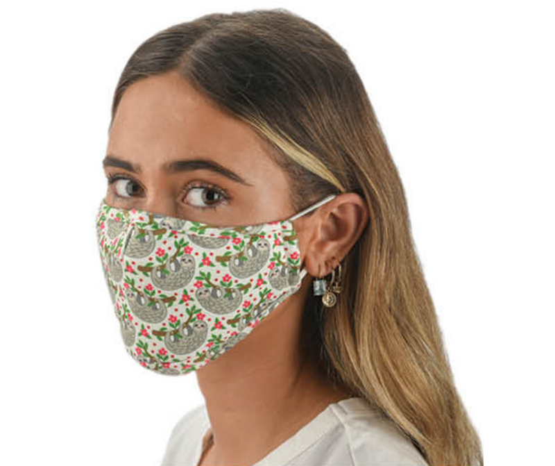 Snoozies Fashion Face Coverings (Mask) Sloth Print with Filter - Southern Agriculture