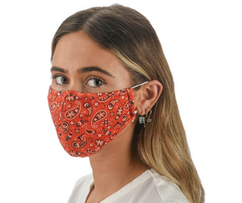 Snoozies Fashion Face Coverings (Mask) Red Bandana Print with Filter - Southern Agriculture