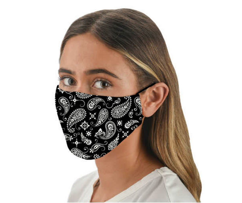 Snoozies Fashion Face Coverings (Mask) Black Bandana Print with Filter - Southern Agriculture