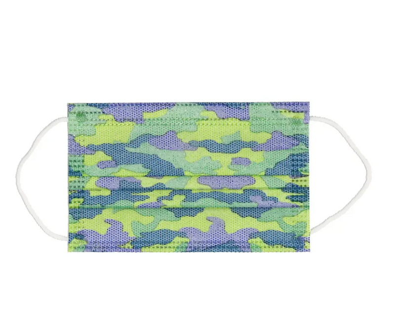 Kid's Disposable 3 Ply Mask Blue Camo Design 7 Pack - Southern Agriculture