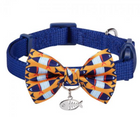 Blueberry Timeless Cat Collar  Blue with Fish Print Bowtie - Southern Agriculture