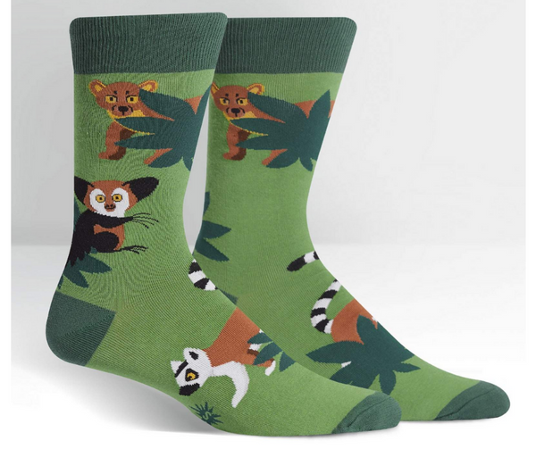 Men's Crew Socks Madagascar Menagerie by Sock It to Me