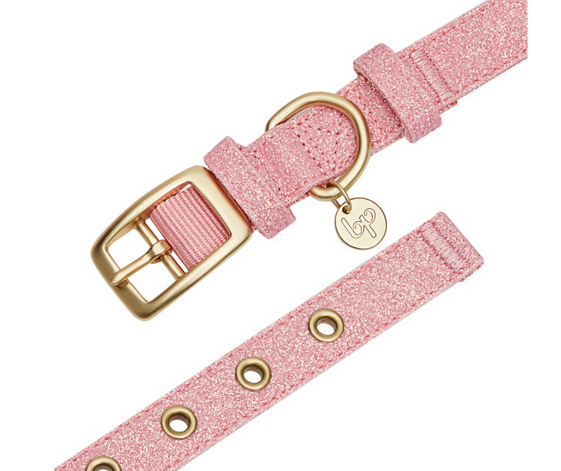 Most Coveted Holo Pink Glitter Dog Collar with Flower Medium - Southern Agriculture