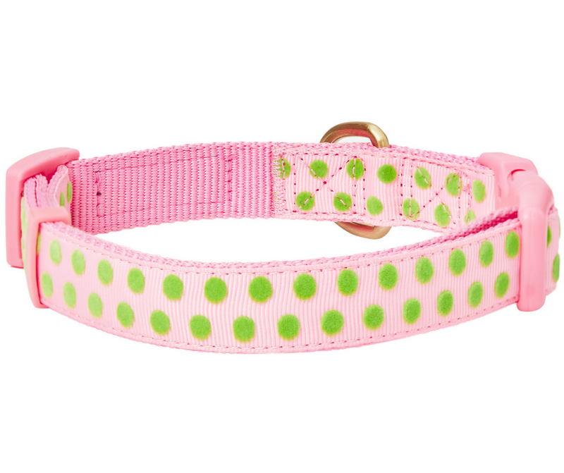 Pink With Green Polka Dot Flocking with Flower Dog Collar - Southern Agriculture