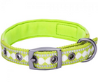 3M Reflective Padded Jacquard Dog Collar Macaw Green - Southern Agriculture
