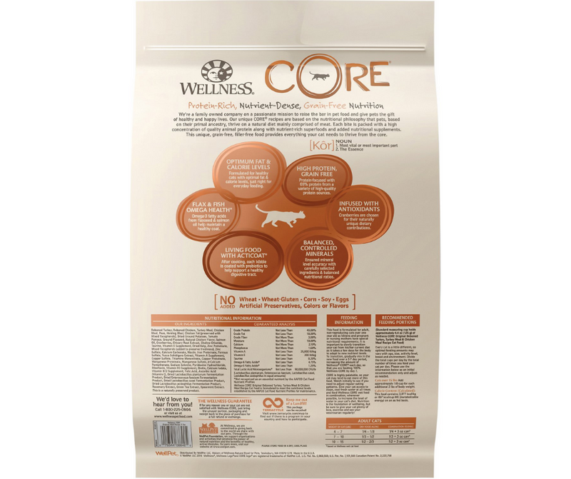 Wellness CORE -  All Breeds, Adult Cat. Original Grain-Free Deboned Turkey, Turkey Meal & Chicken Meal Recipe - Southern Agriculture