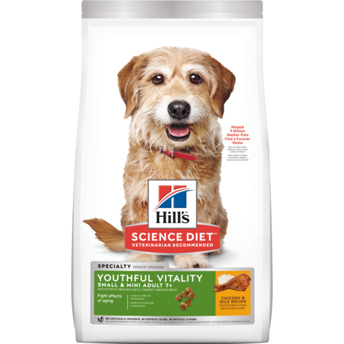 Hill's Science Diet Adult 7+ Youthful Vitality Small & Mini Chicken & Rice Recipe Dry Dog Food 3.5 lb. - Southern Agriculture